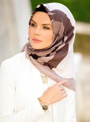 Brown - Printed - Cotton - Scarf