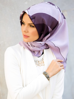 Lilac - Printed - Cotton - Scarf
