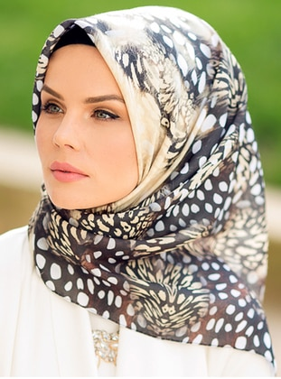 Black - Yellow - Printed - Cotton - Scarf