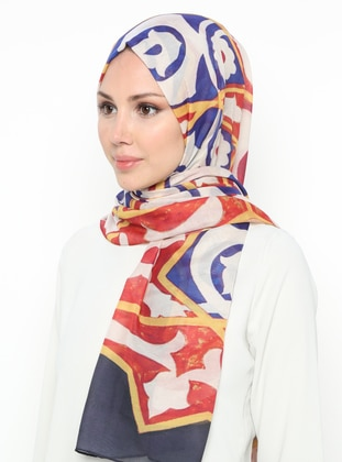 Red - Navy Blue - Printed - Shawl