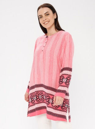 Pink - Multi - Crew neck - Cotton - Plus Size Tunic