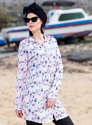 Pink - Floral - Point Collar - Tunic