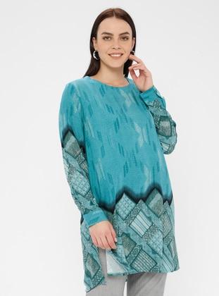Turquoise - Multi - Crew neck - Cotton - Plus Size Tunic