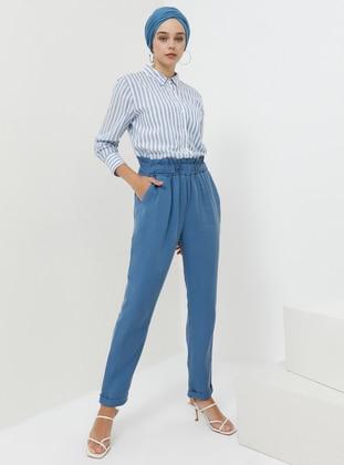 Blue - Navy Blue - Indigo - Cotton - Pants