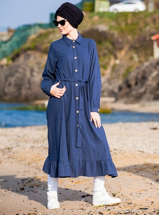 Indigo - Point Collar - Viscose - Tunic