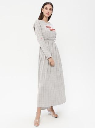 Gray - Terra Cotta - Plaid - Crew neck - Unlined - Dress