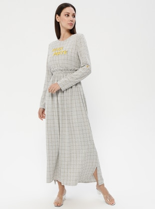 Yellow - Gray - Plaid - Crew neck - Unlined - Dress
