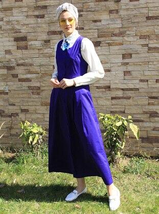 Purple - Crew neck - Unlined - Cotton - Dress