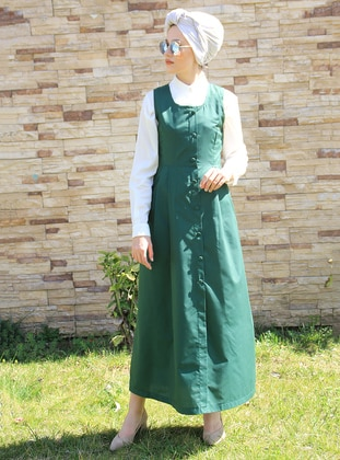 Green - Crew neck - Unlined - Cotton - Dress