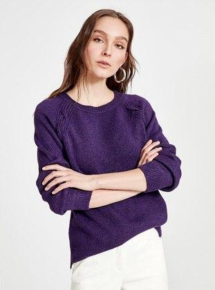 Purple - Crew neck - Jumper