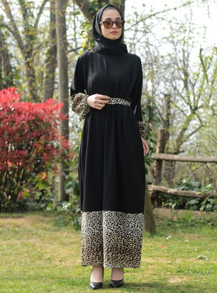Black - Leopard - Unlined - Dress