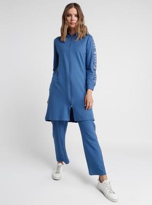 Blue - Indigo - Unlined - Cotton - Suit
