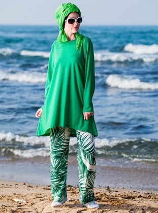 Green - White - Multi - Unlined - Viscose - Suit
