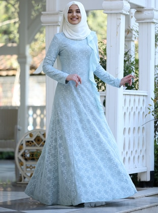 Baby Blue - Crew neck - Fully Lined - Dress