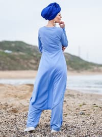 Blue - Unlined - Cotton - Suit