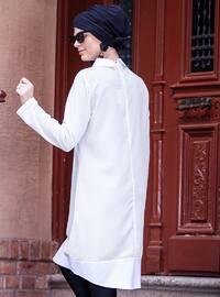 Cream - Point Collar - Cotton - Tunic