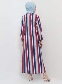 Pink - Fuchsia - Stripe - Crew neck - Unlined - Dress