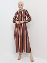 Yellow - Maroon - Stripe - Crew neck - Unlined - Dress