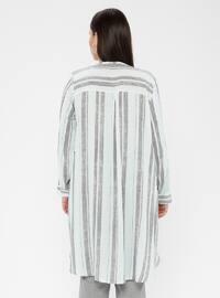 Green - Stripe - Crew neck - Cotton - Plus Size Tunic