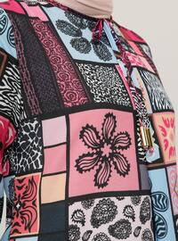 Fuchsia - Multi - Crew neck - Unlined - Dress
