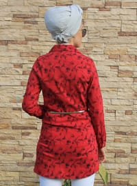 Red - Floral - Point Collar - Tunic