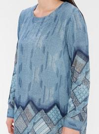 Blue - Multi - Crew neck - Cotton - Plus Size Tunic