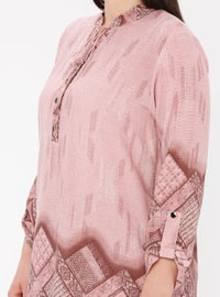 Powder - Multi - Crew neck - Cotton - Plus Size Tunic