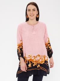 Powder - Multi - Crew neck - Cotton - Plus Size Tunic
