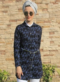 Black - Floral - Point Collar - Tunic