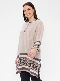 Mink - Multi - Crew neck - Cotton - Plus Size Tunic