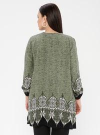 Green - Crew neck - Cotton - Plus Size Tunic
