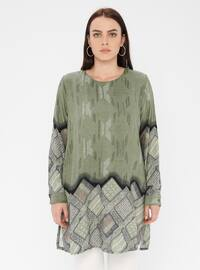 Green - Multi - Crew neck - Cotton - Plus Size Tunic
