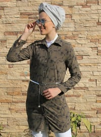 Green - Floral - Point Collar - Tunic