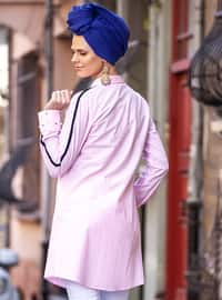 Pink - Point Collar - Cotton - Tunic