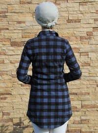 Black - Navy Blue - Plaid - Point Collar - Tunic