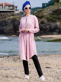 Pink - Unlined - Crew neck - Cotton - Topcoat