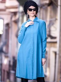 Indigo - Point Collar - Cotton - Tunic