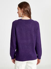 Purple - Crew neck - Jumper