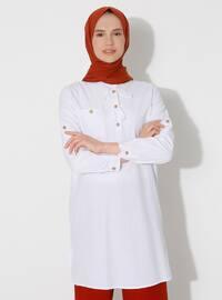 White - Crew neck - Cotton - Acrylic - Tunic