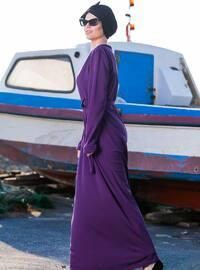 Plum - Unlined - Crew neck - Plus Size Dress