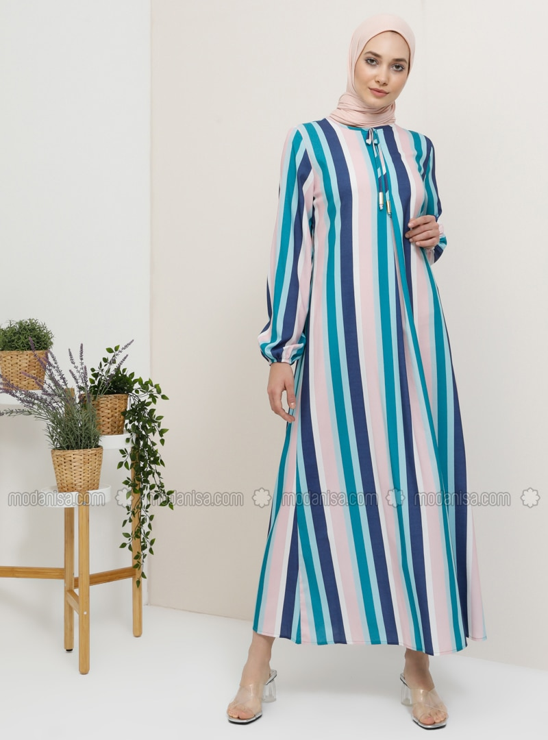 Blue - Stripe - Crew neck - Unlined - Dress