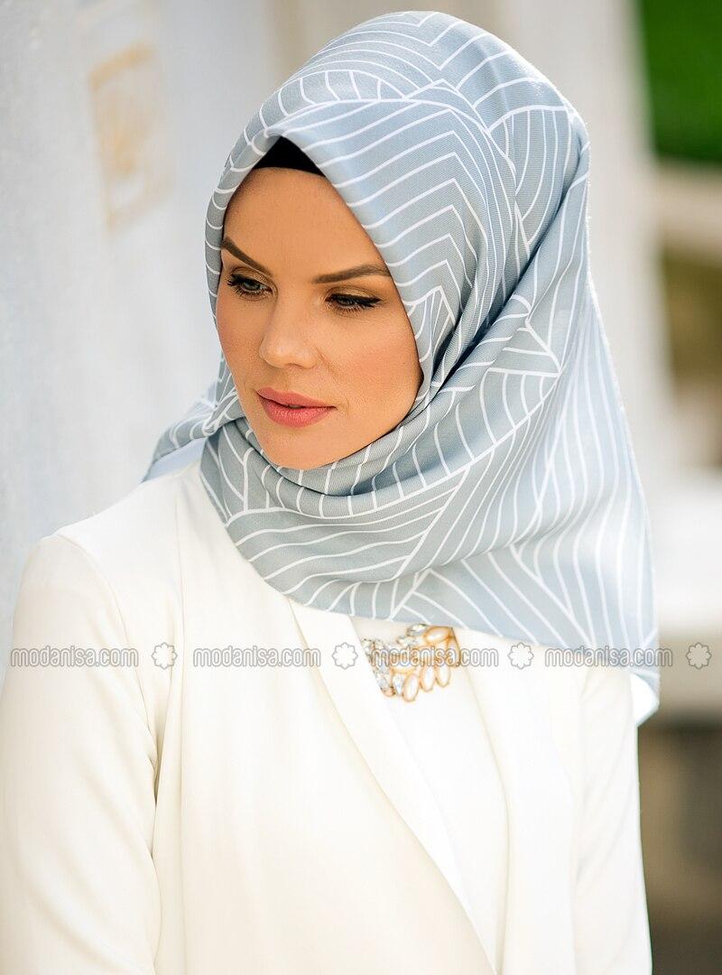 Gray - Striped - Cotton - Scarf