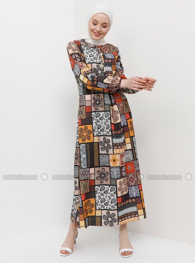 Mink - Multi - Crew neck - Unlined - Dress
