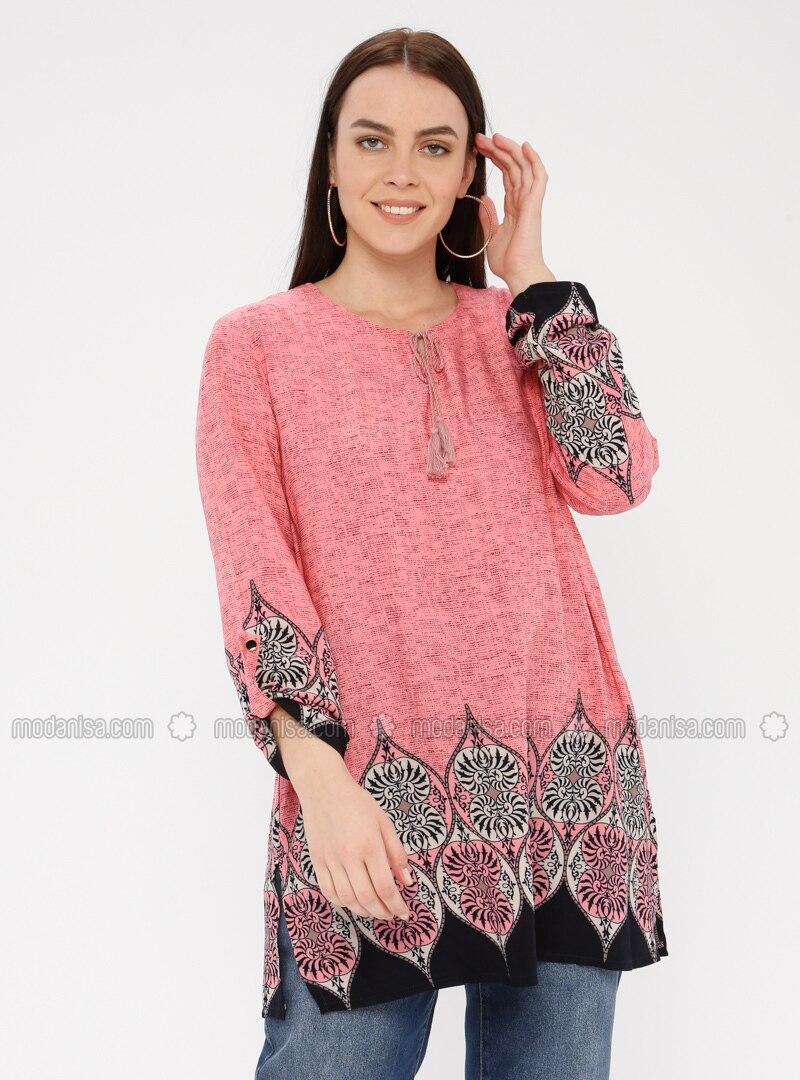 Pink - Crew neck - Cotton - Plus Size Tunic