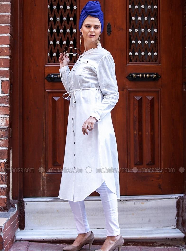 White - Crew neck - Cotton - Plus Size Tunic