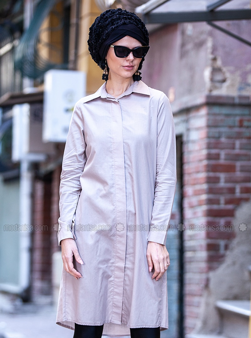 Gray - Point Collar - Cotton - Tunic