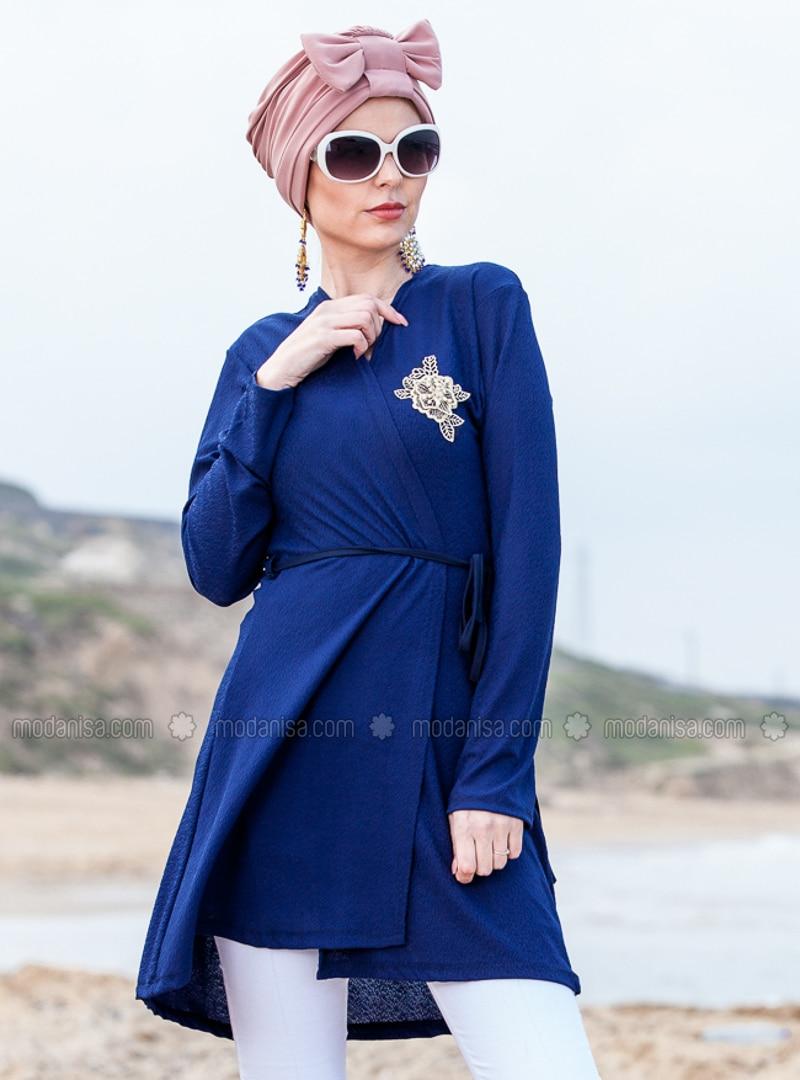 Navy Blue - V neck Collar - Cardigan