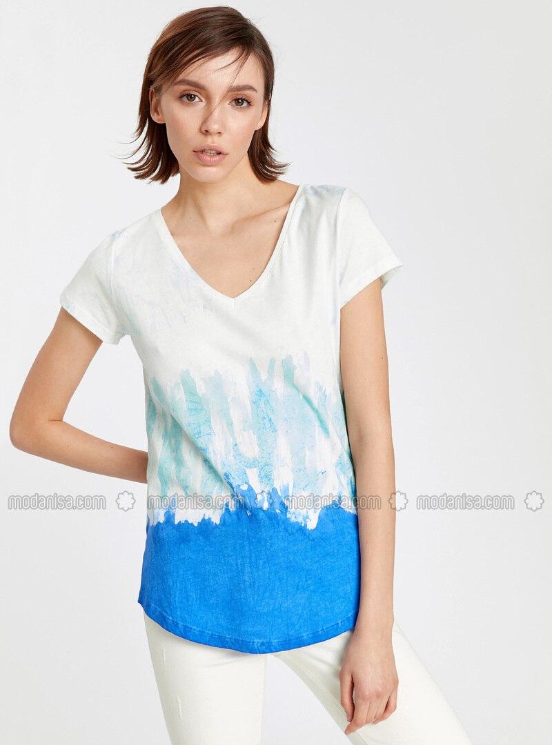 Blue - V neck Collar - T-Shirt