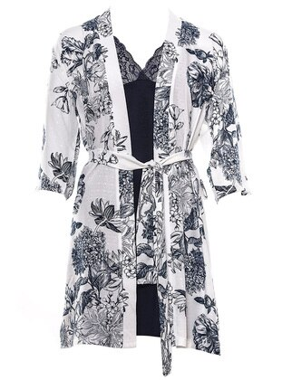 Navy Blue - Ecru - Morning Robe