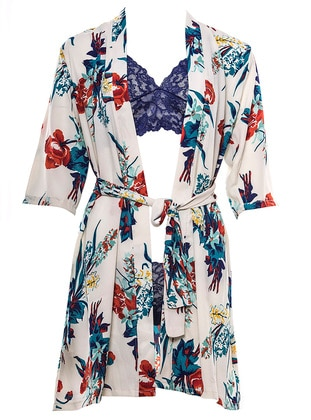 Navy Blue - Ecru - Coral - Morning Robe